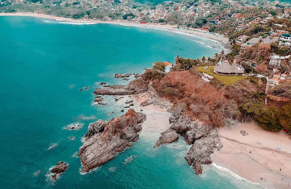 Aerial View of Beach of the Dead in Sayulita