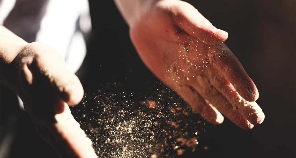 Chef hands with flour