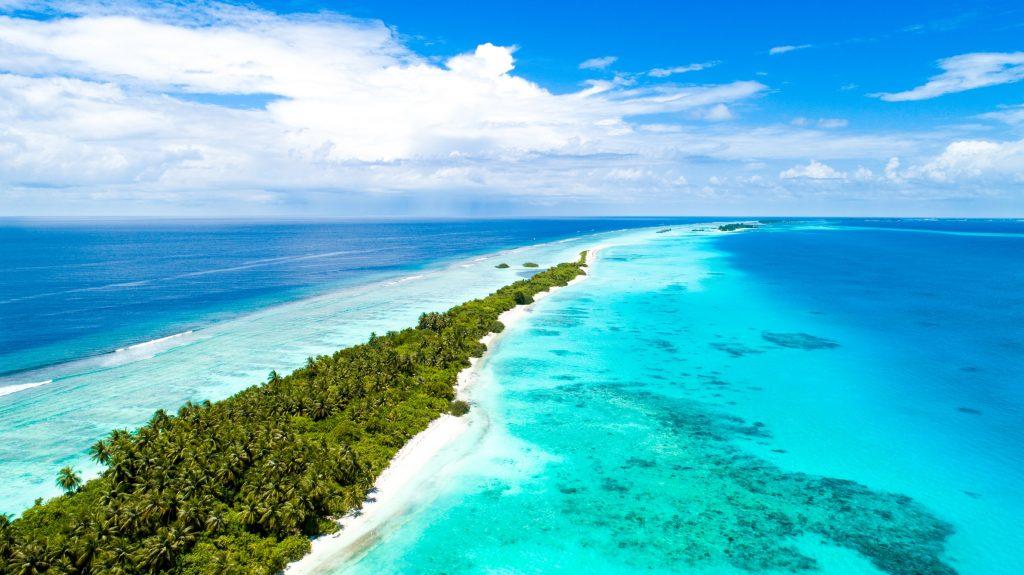aerial shot of the maldives