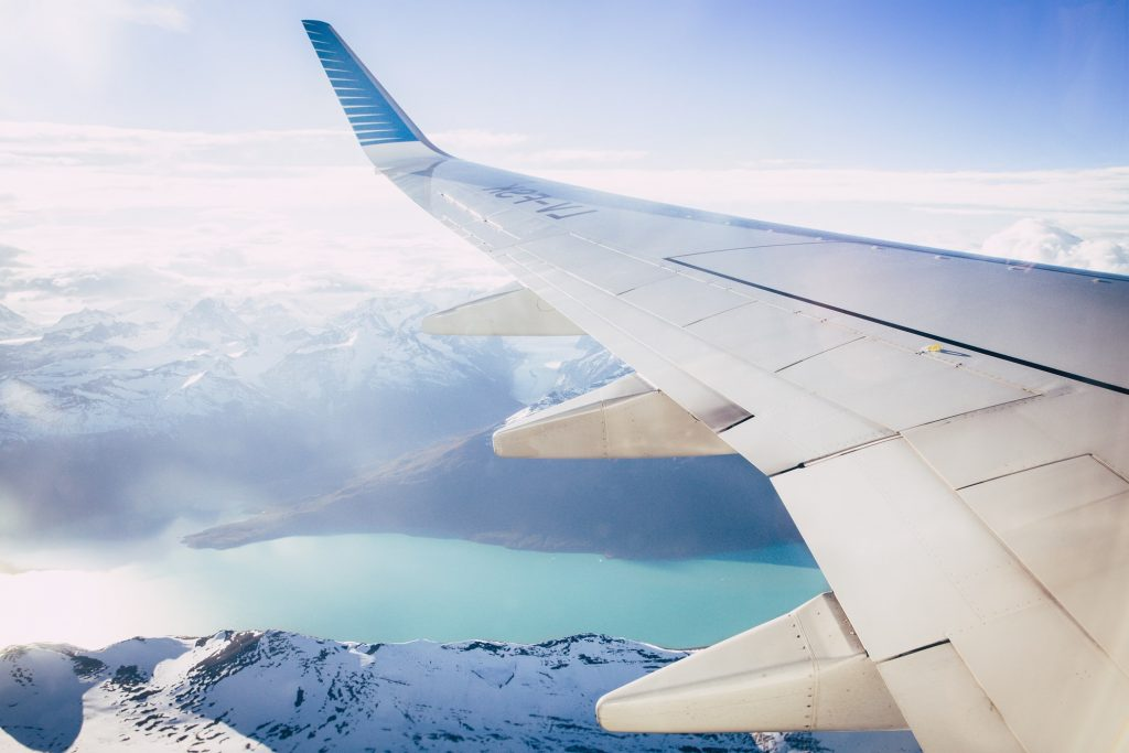 view of mountains out of airplane