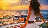 woman on boat sailing